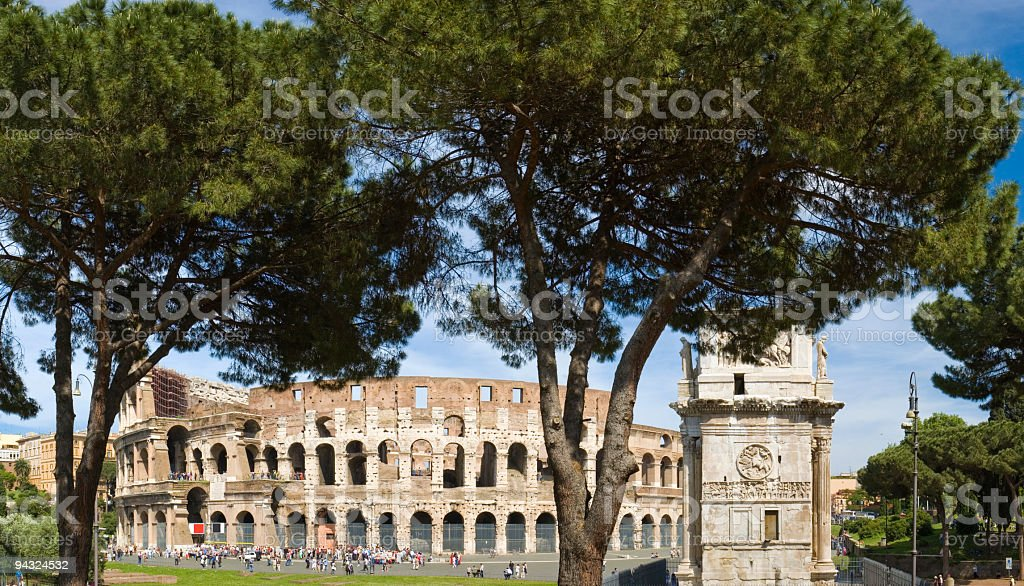 Crowds at the Colosseum, Rome royalty-free stock photo