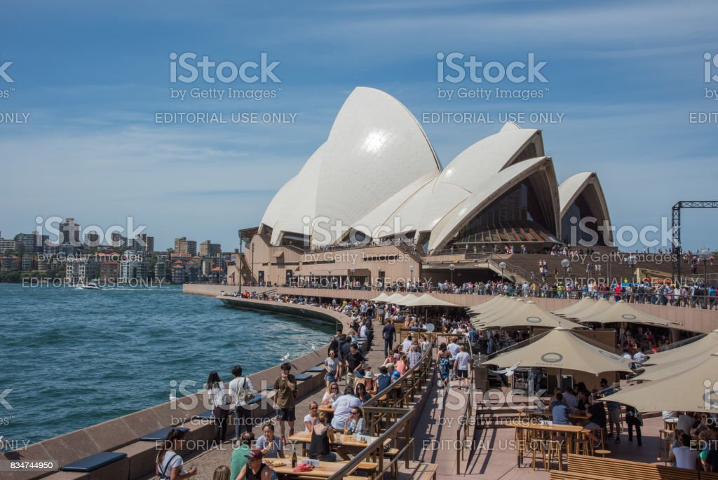 Crowds at the Sydney Opera House stock photo