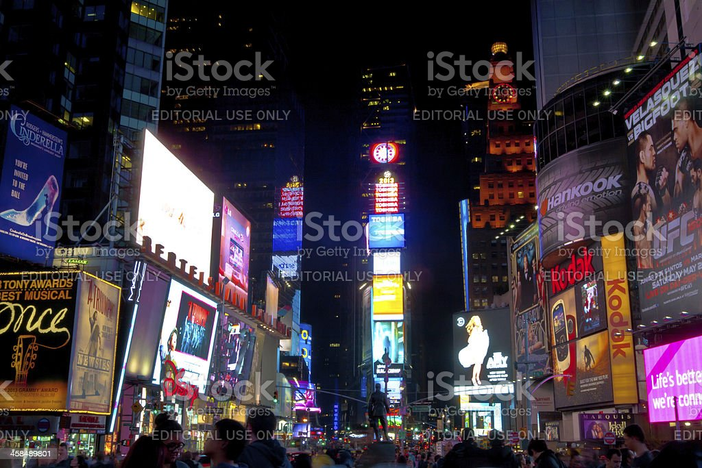 Crowds at Times Square night royalty-free stock photo