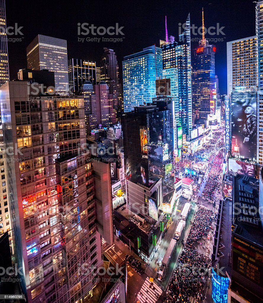 Crowds celebrating New Year on Times Square, NYC stock photo