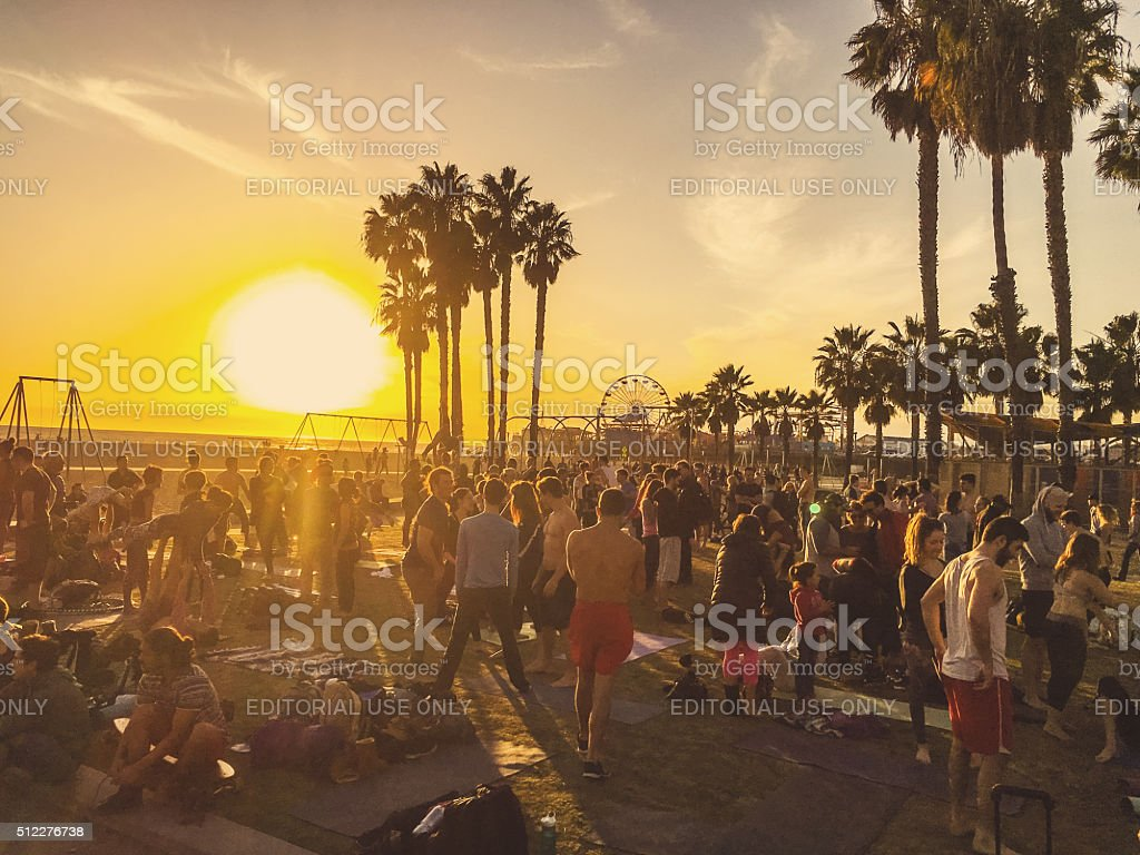 Crowds exercising on Santa Monica Muscle beach stock photo