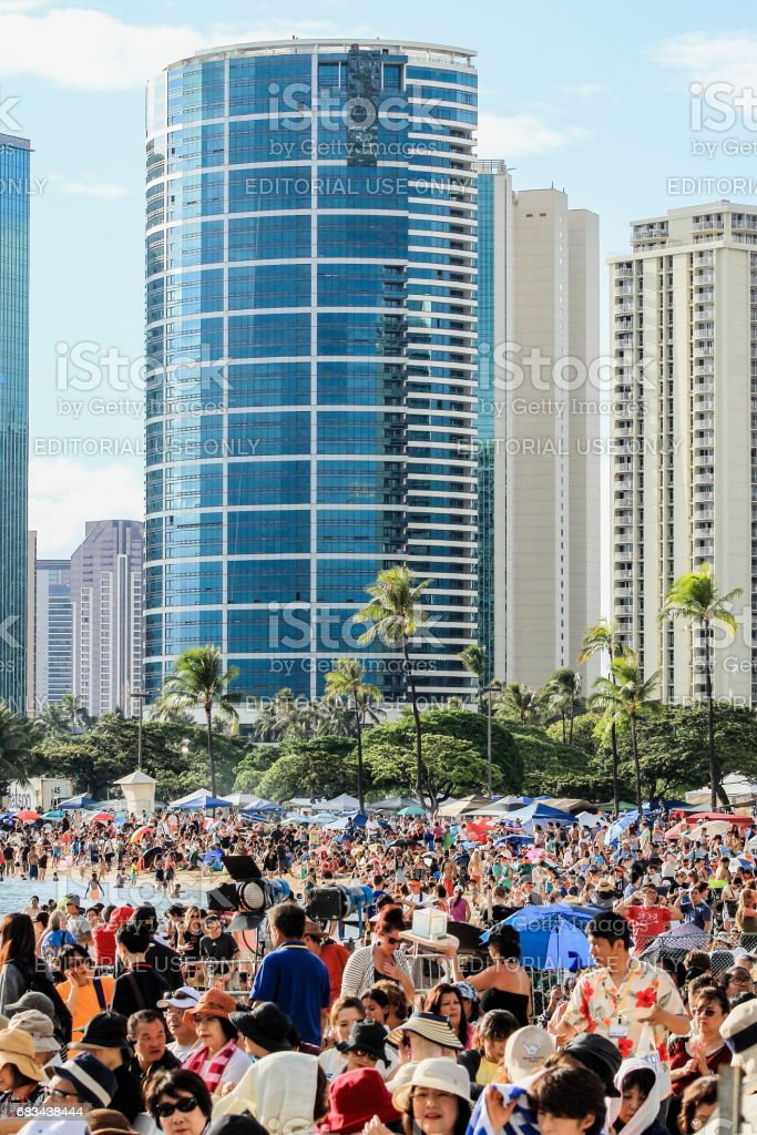 Crowds gather at Ala Moana Beach Park at the Memorial Day Lantern Floating Festival stock photo
