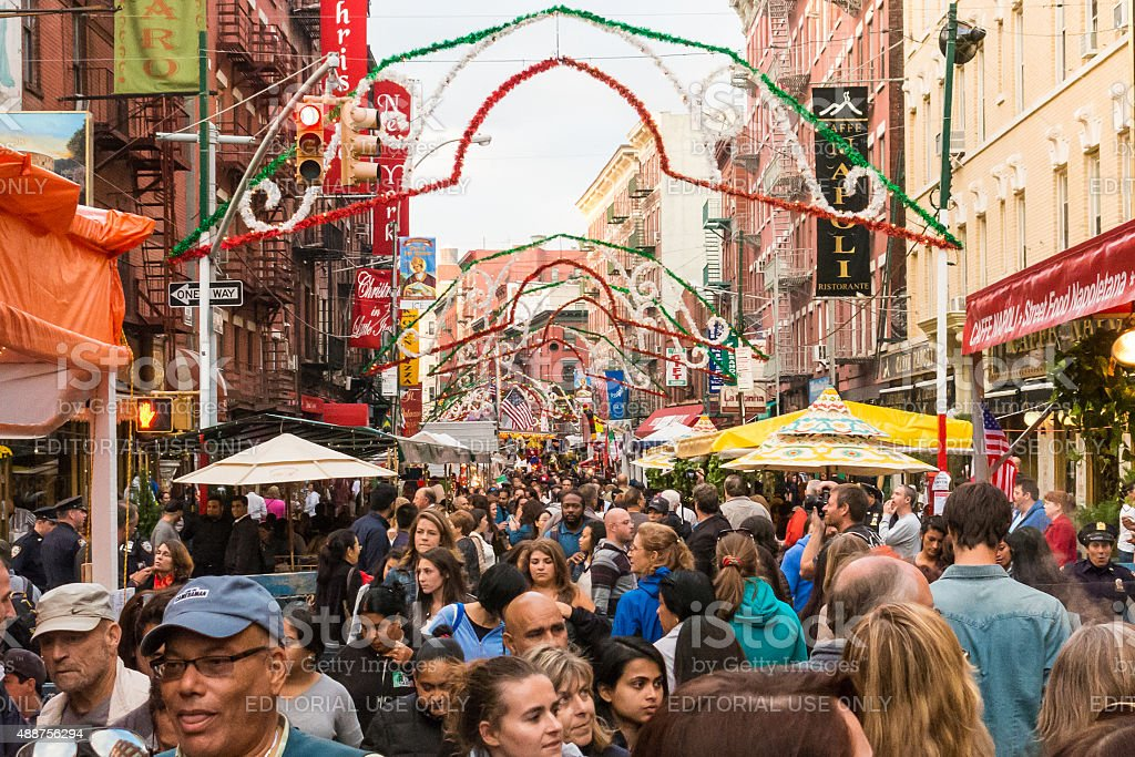 Crowds gather in Mulberry Street to celebrate San Gennaro, NYC stock photo