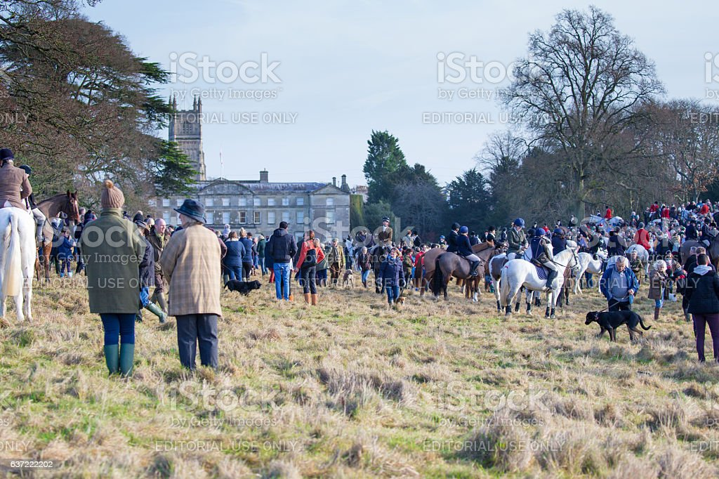 Crowds in Cirencester Park for the 2016 Boxing day Hunt stock photo