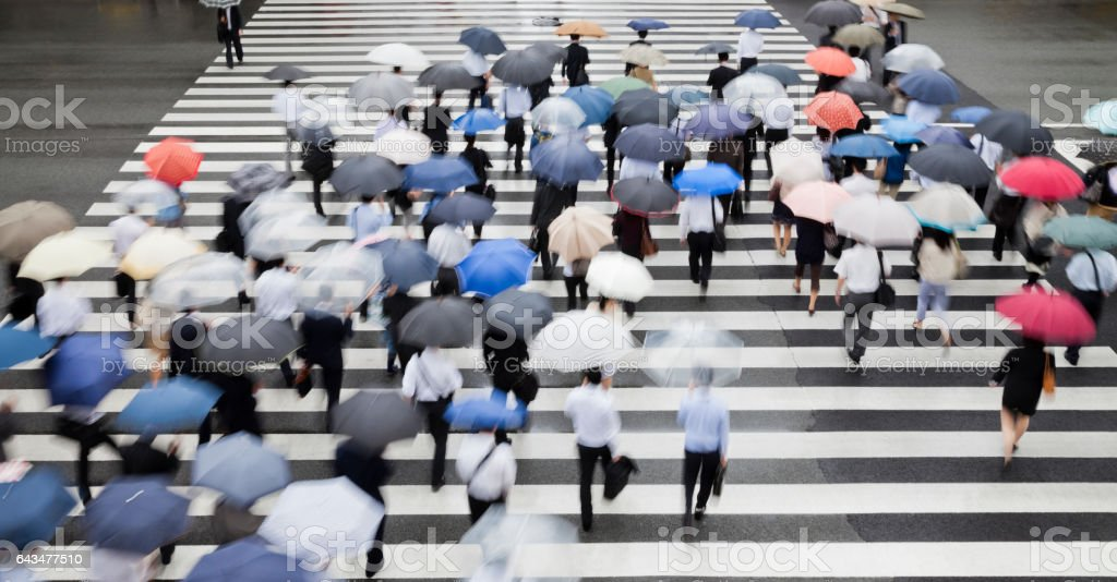 Crowds of Commuters at Crosswalk on a Rainy Morning stock photo