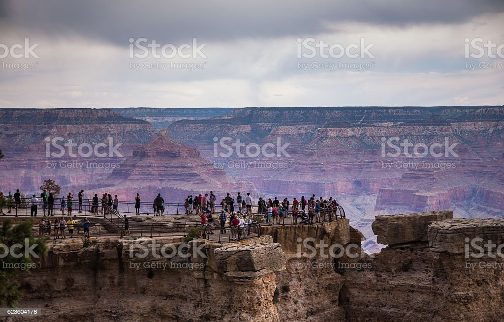 Crowds of People at Mather Point in the Grand Canyon stock photo