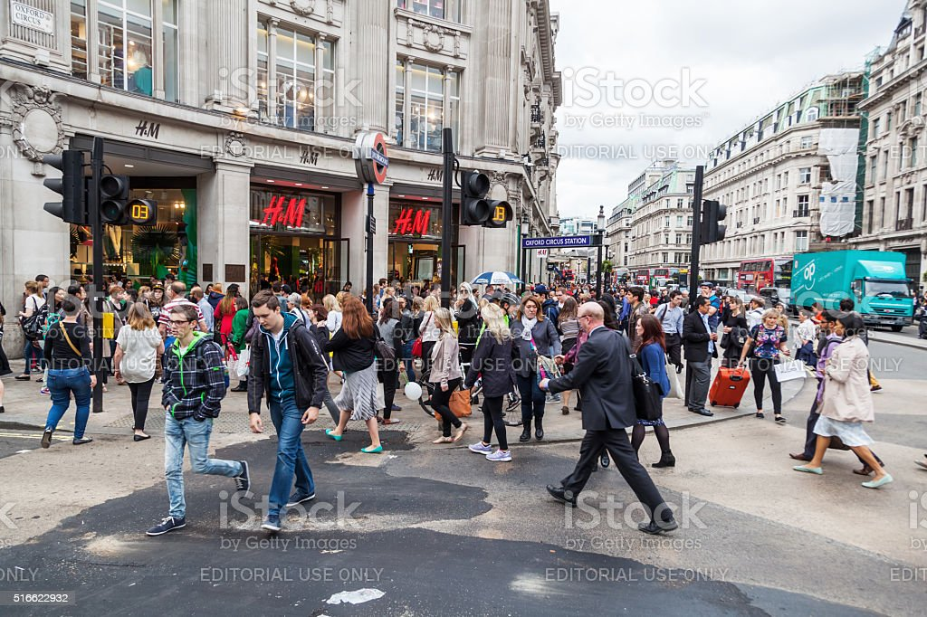 crowds of people at Oxford Circus, England stock photo