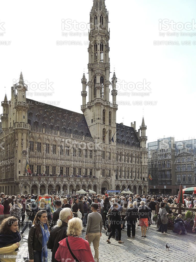 crowds of people near Town Hall in City Brussels stock photo