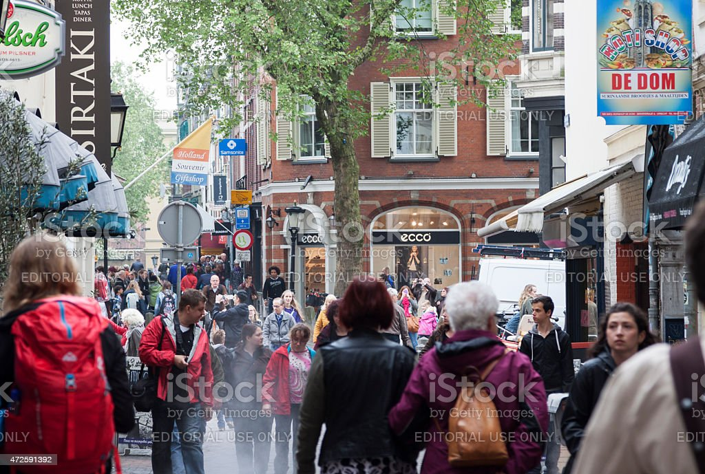 Crowds of people walking on Utrecht street in the Netherlands stock photo