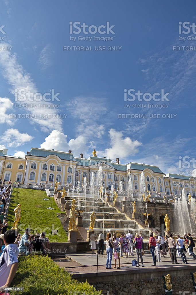 Crowds of people watching golden fountains Peterhof palace St Petersburgh royalty-free stock photo
