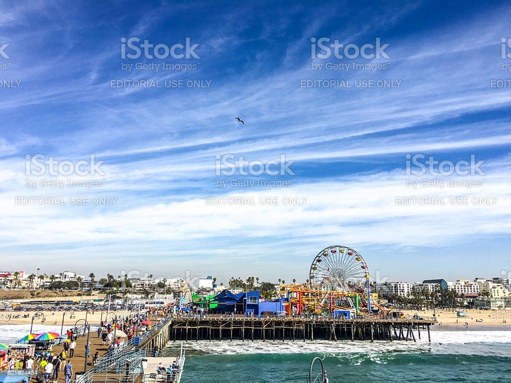 Crowds of tourists on Santa Monica Pier, USA stock photo