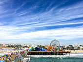 Crowds of tourists on Santa Monica Pier, USA