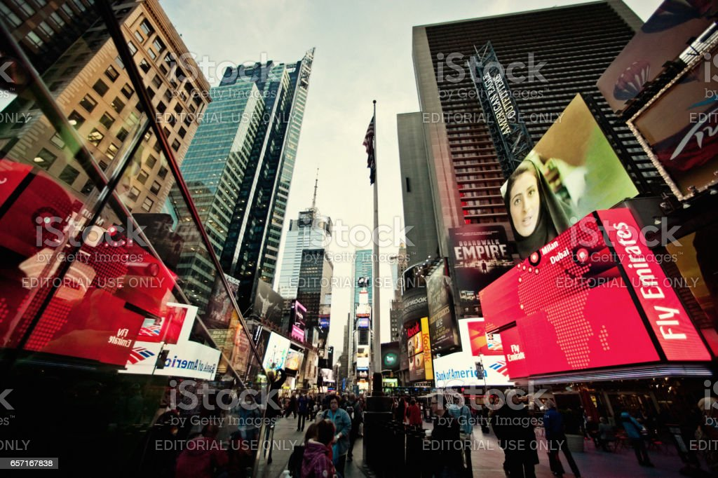 Crowds of tourists on Times Square, New York stock photo