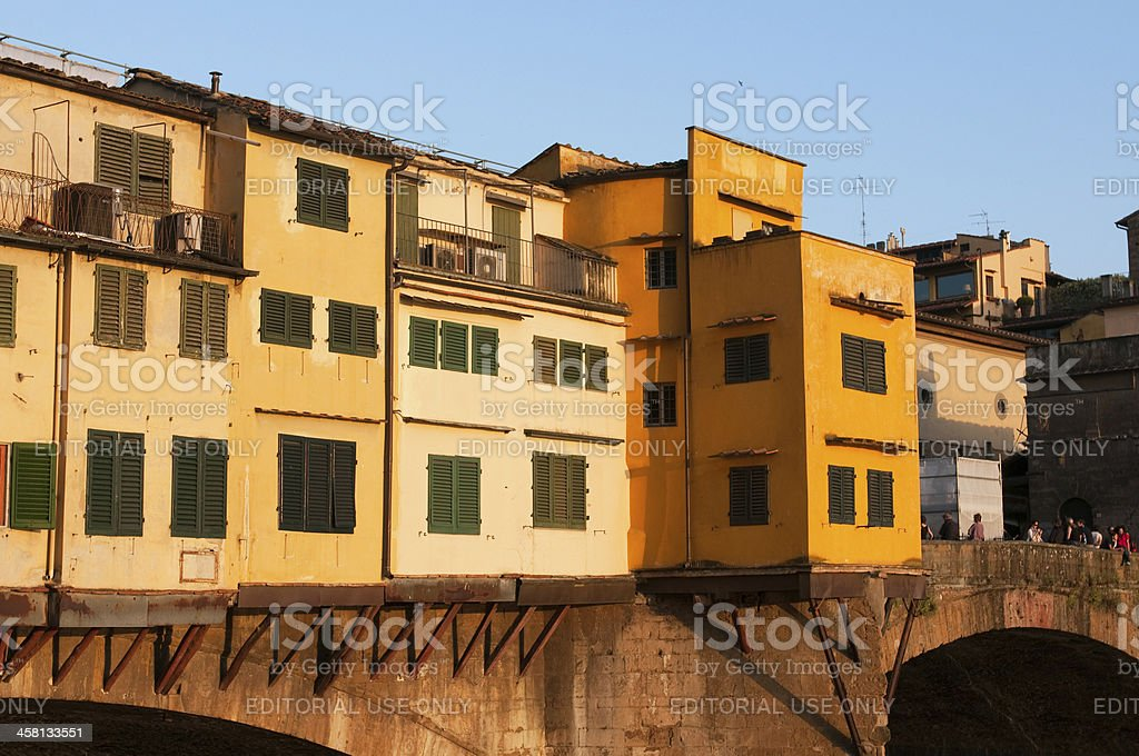 Crowds of tourists visit the Ponte Vecchio in Florence royalty-free stock photo