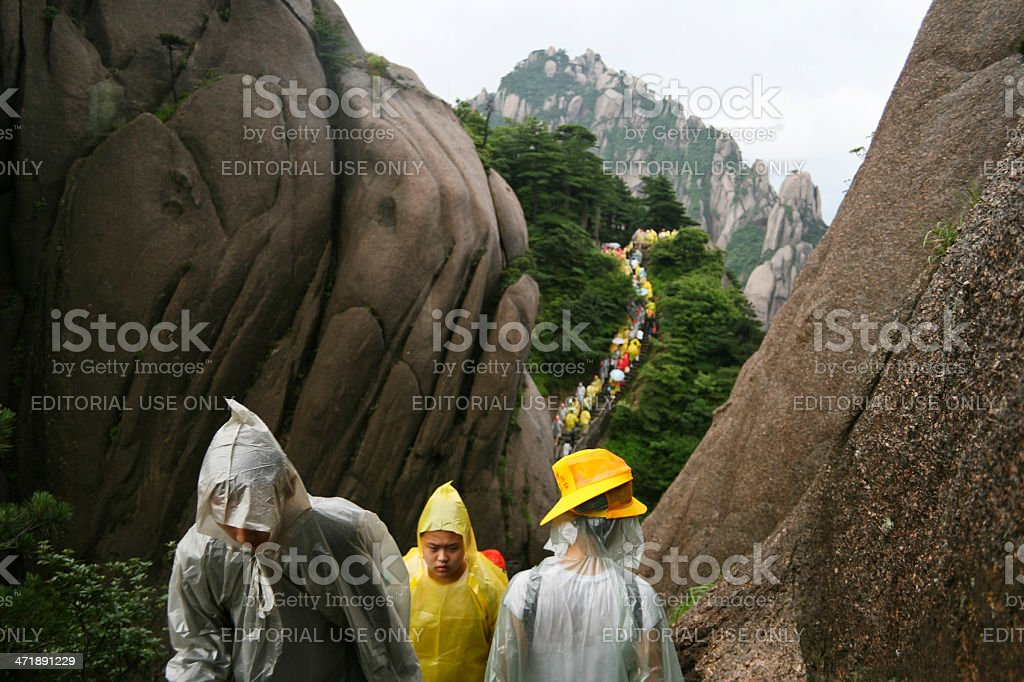 Crowds on Huangshan stock photo