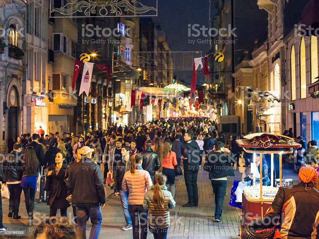 Crowds on Istiklal Caddesi stock photo