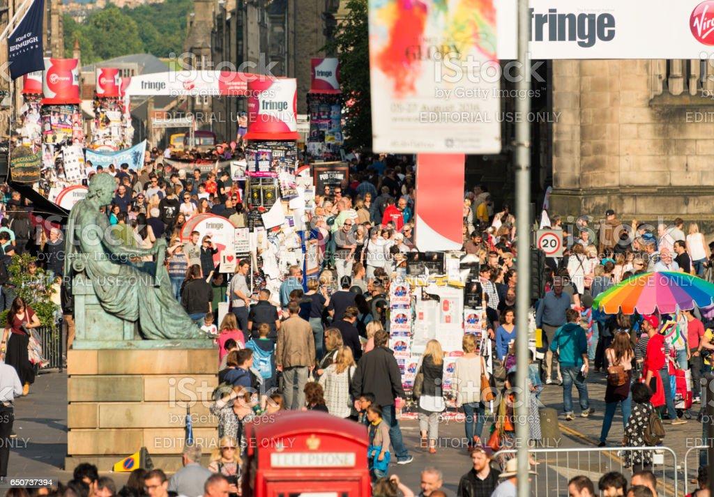 Crowds on the Royal Mile during the Edinburgh Festival Fringe stock photo
