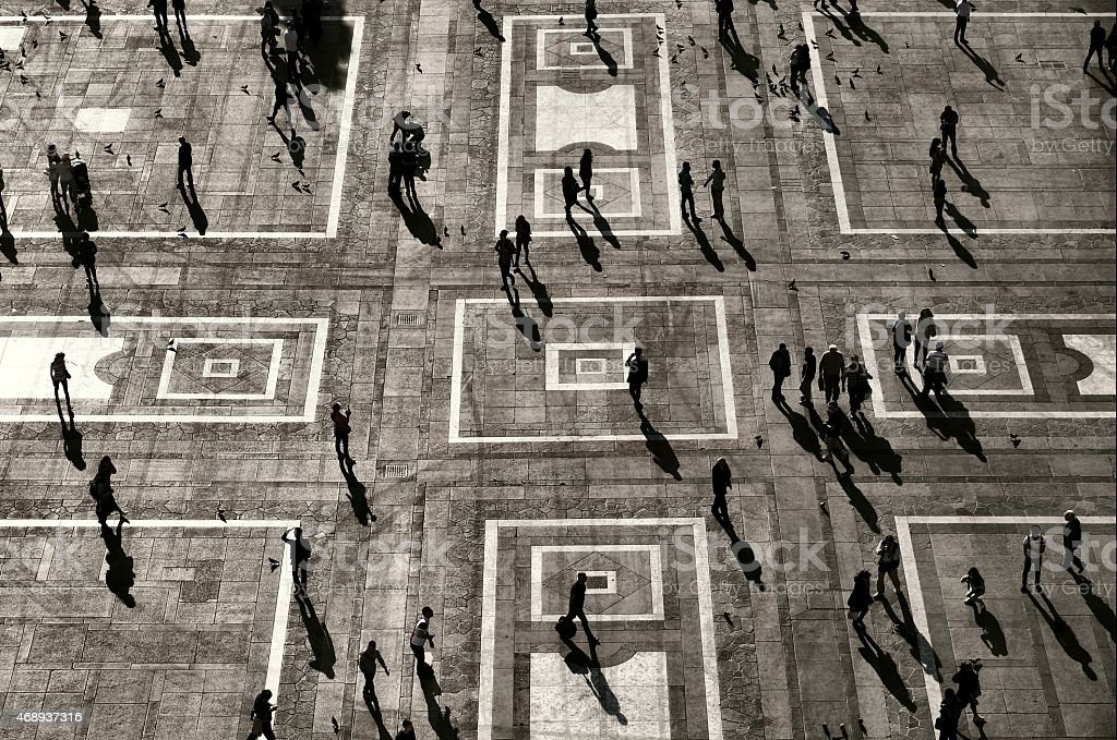 Crowds, Silhouettes and shadows in City environment stock photo