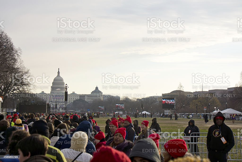 Crowds Stretch Down to Capital at Inaugaration 2013 royalty-free stock photo