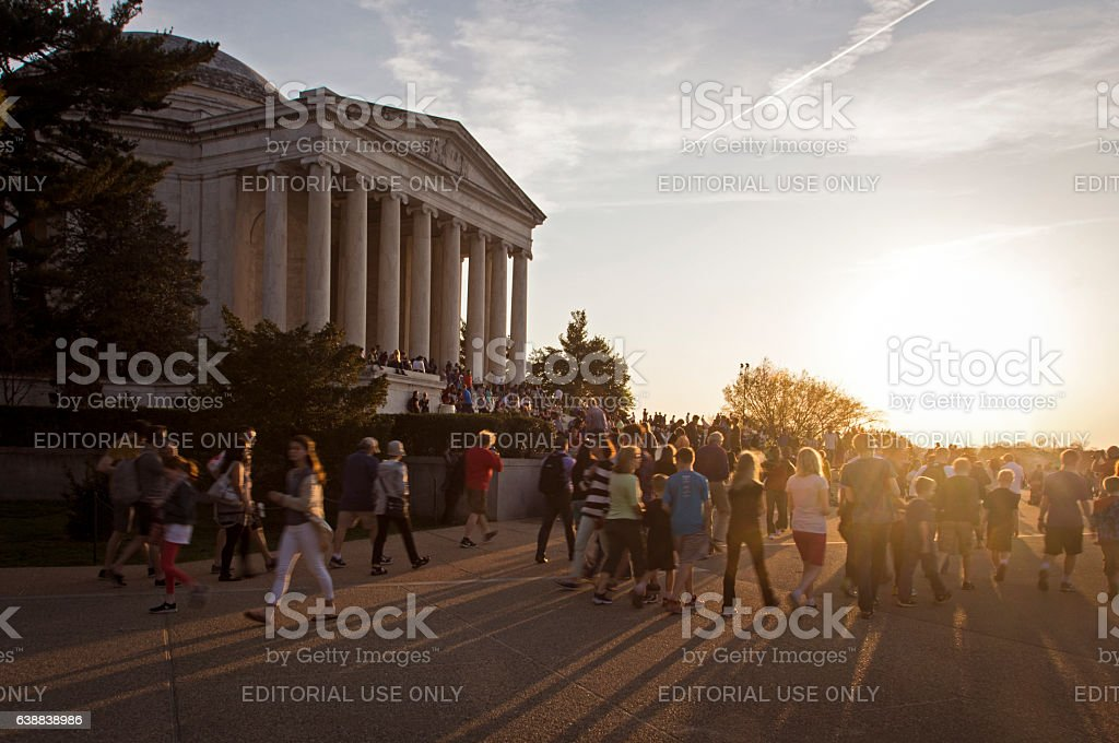 Crowds surround the Jefferson Monument stock photo