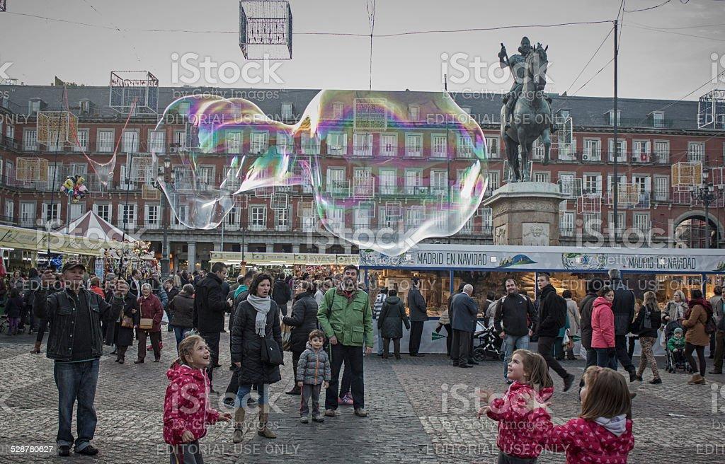 Crowds visiting Christmas Market on Plaza Mayor, Madrid stock photo