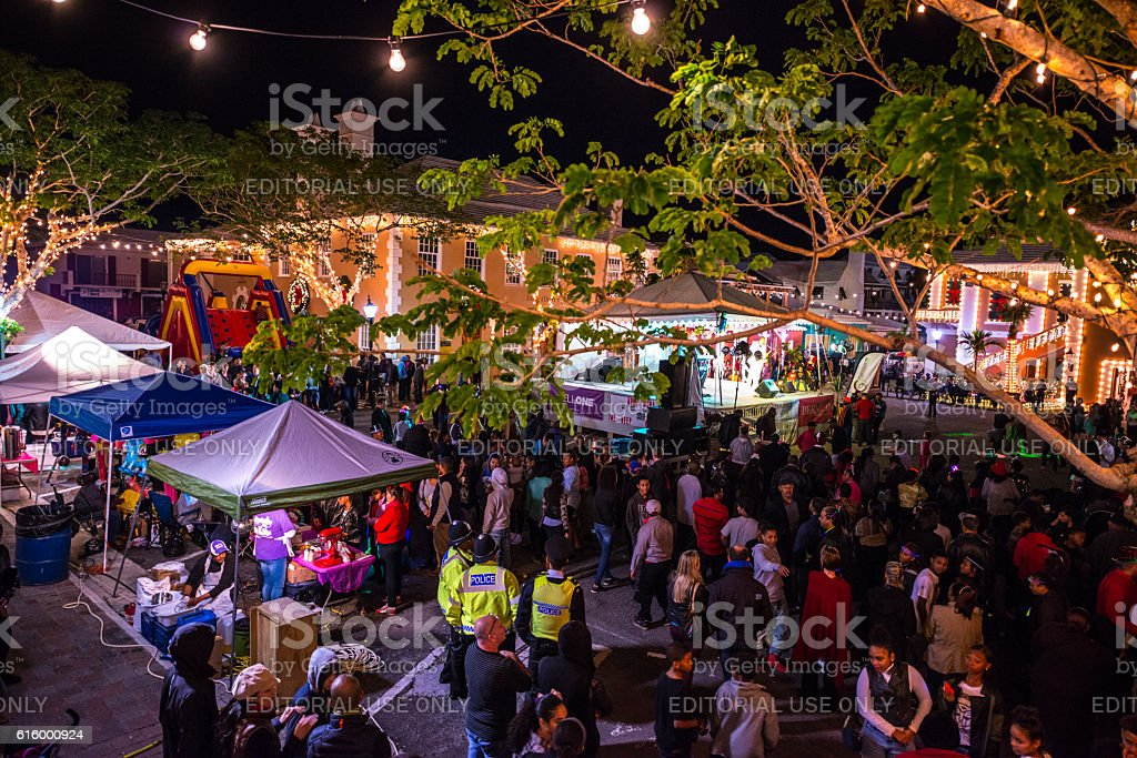 Crowds waiting for New Year's Eve Onion Drop, Bermuda stock photo