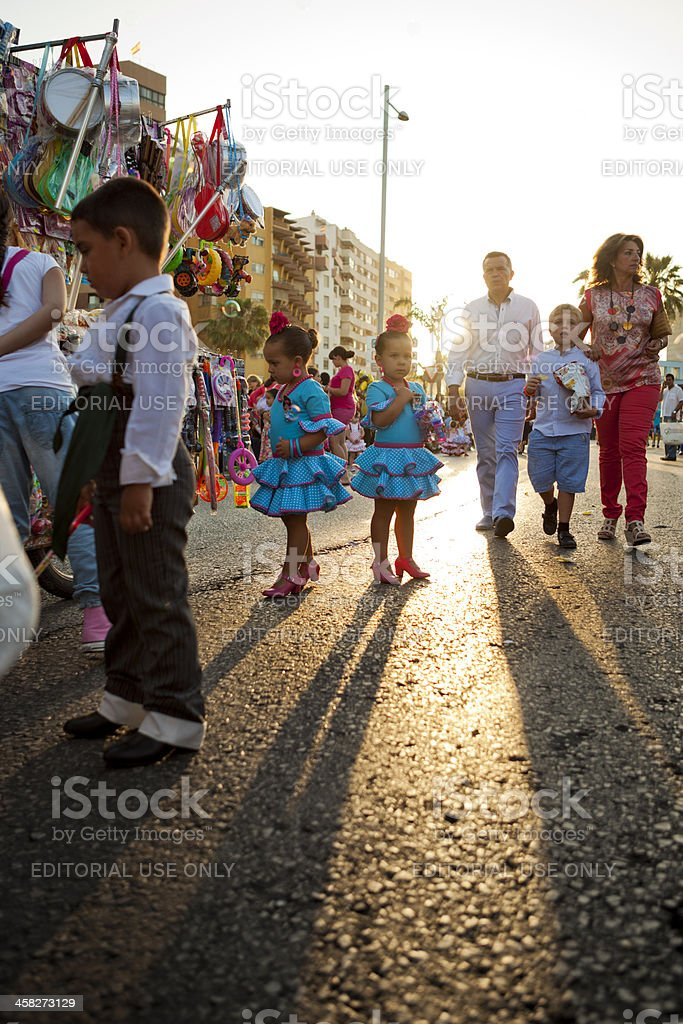 Crowds Waiting for Parade in Andalucia Spain royalty-free stock photo