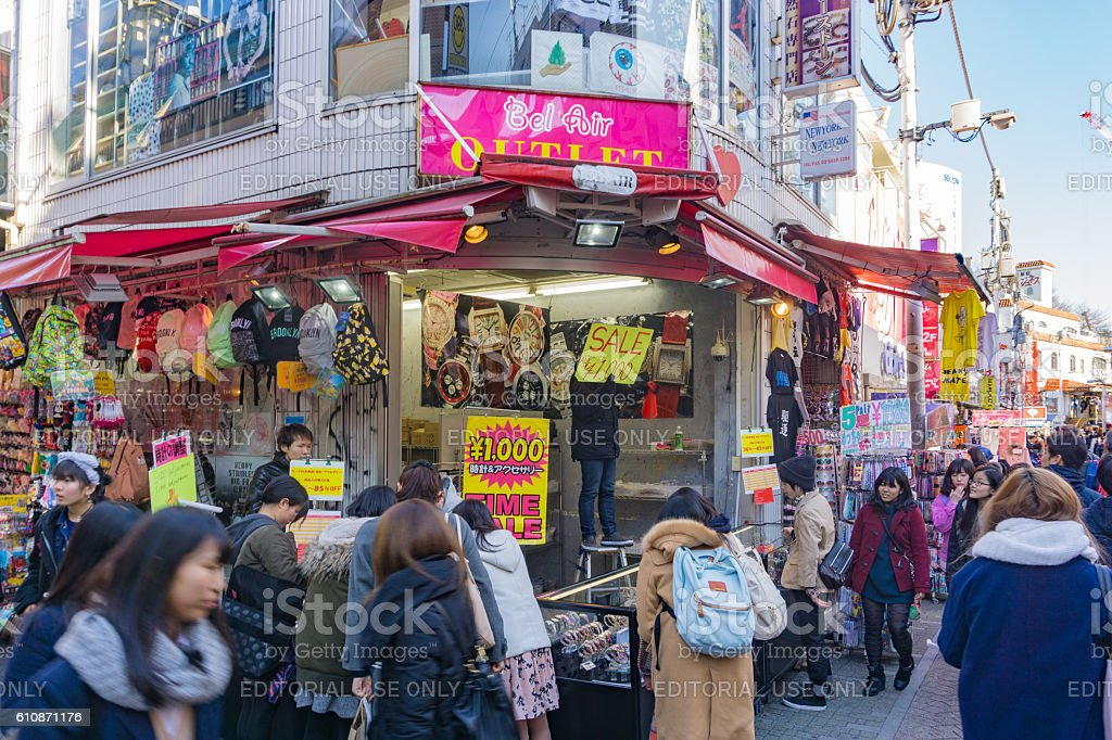 Crowds walk through Takeshita Street in the Harajuku stock photo