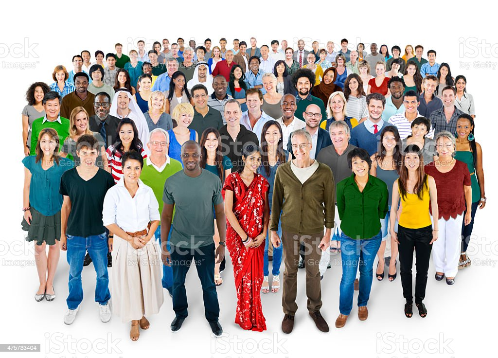 Crowed of Diversity People Friendship Happiness Concept stock photo