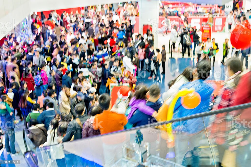 crowed shopping mall stock photo