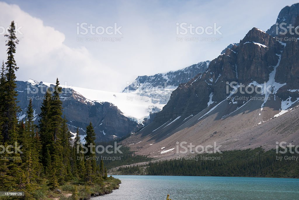 Crowfoot Glacier as seen from Bow Lake, June 2008 stock photo