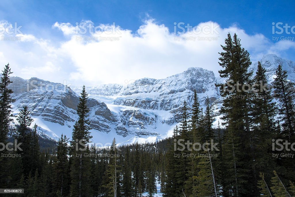 Crowfoot Glacier in Winter, Canadian Rockies, Alberta, Canada stock photo