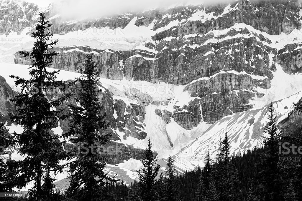Crowfoot Glacier on Icefields Parkway stock photo
