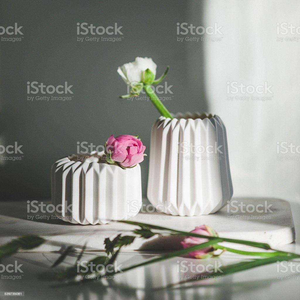 Crowfoot in beautiful vases stock photo