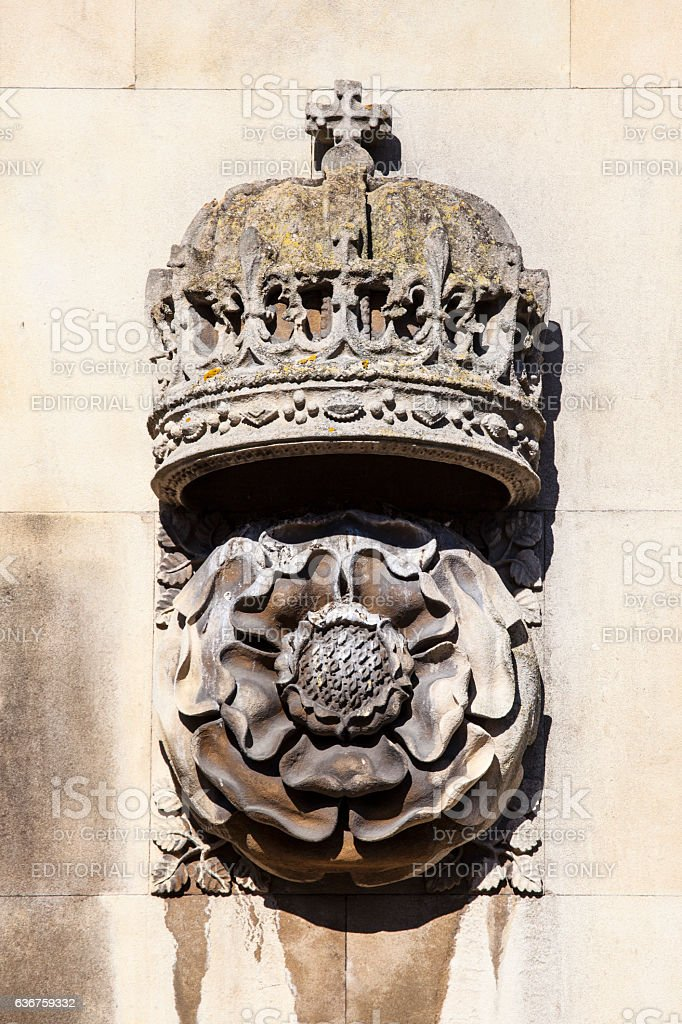 Crown and Tudor Rose Carving at King's College Cambridge stock photo