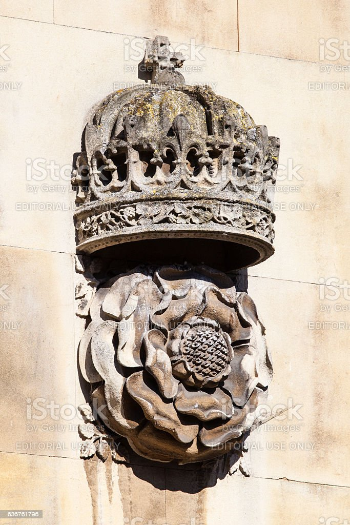 Crown and Tudor Rose Carving at King's College in Cambridge stock photo