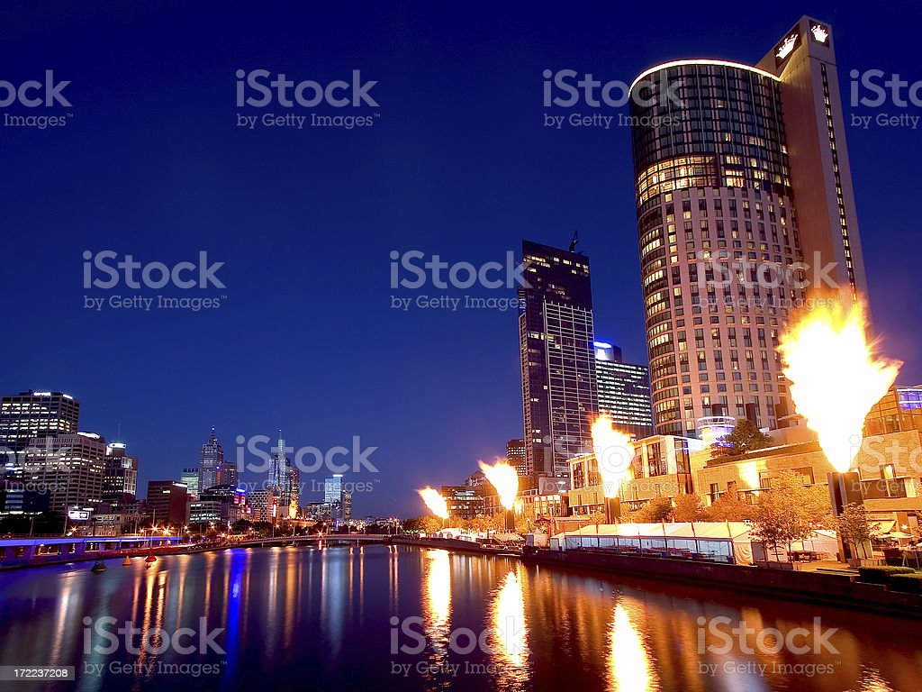 Crown Casino fireshow with Melbourne skyline stock photo