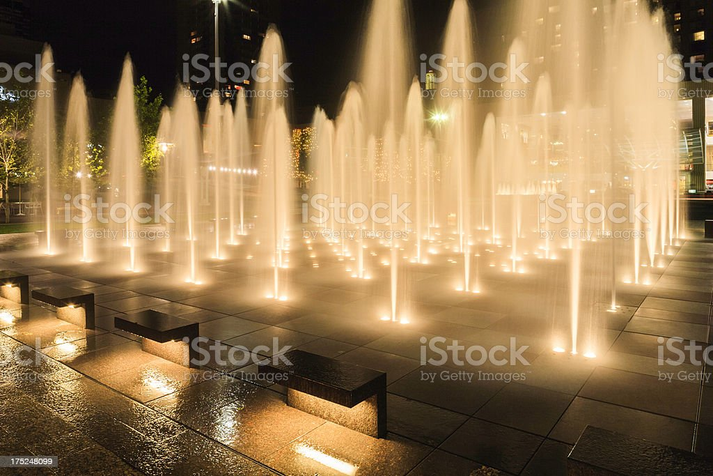 Crown Center Plaza Water Fountains spraying, Kansas City Missouri stock photo