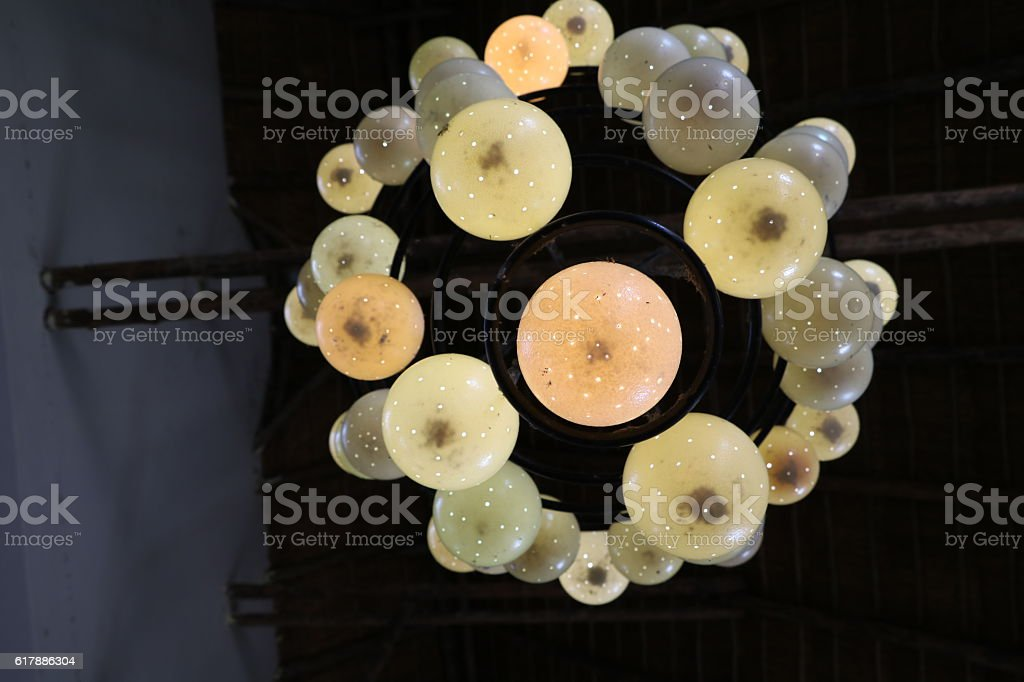 Crown chandelier with ornate ostrich egg, Botswana Africa stock photo