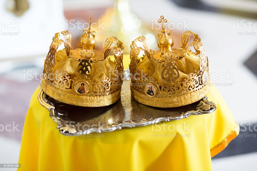 Crown for a wedding. Christianity stock photo