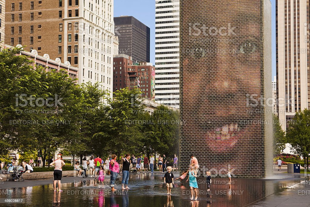 Crown Fountain in Chicago stock photo