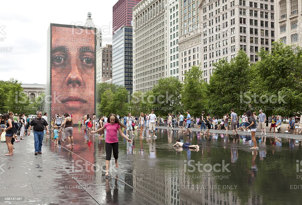 Crown Fountain in Downtown Chicago stock photo