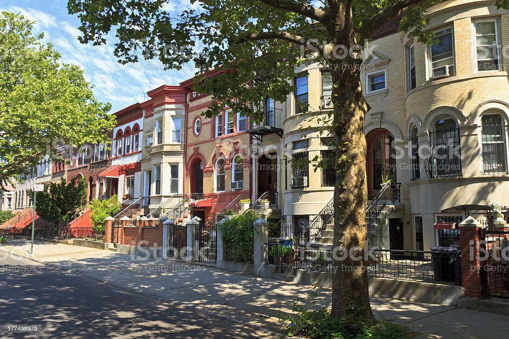 Crown Heights Brick Townhouses royalty-free stock photo