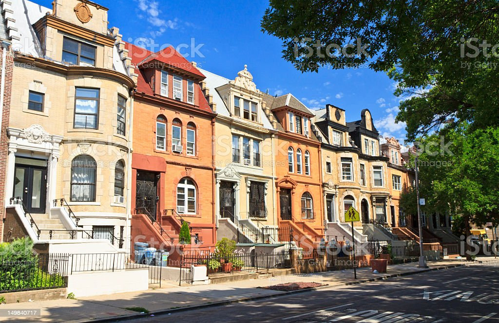 Crown Heights Townhouses stock photo