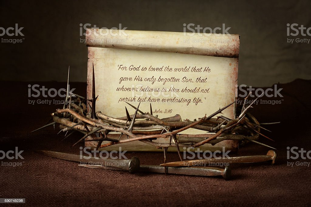 Crown of Thorns and Nails With Scripture stock photo