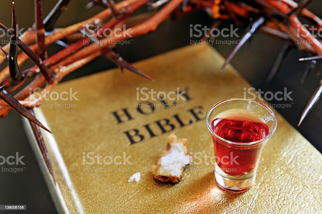 crown of thorns on a bible royalty-free stock photo