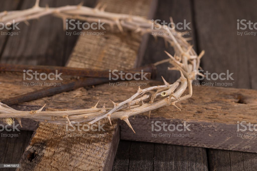 Crown of Thorns on a Cross stock photo