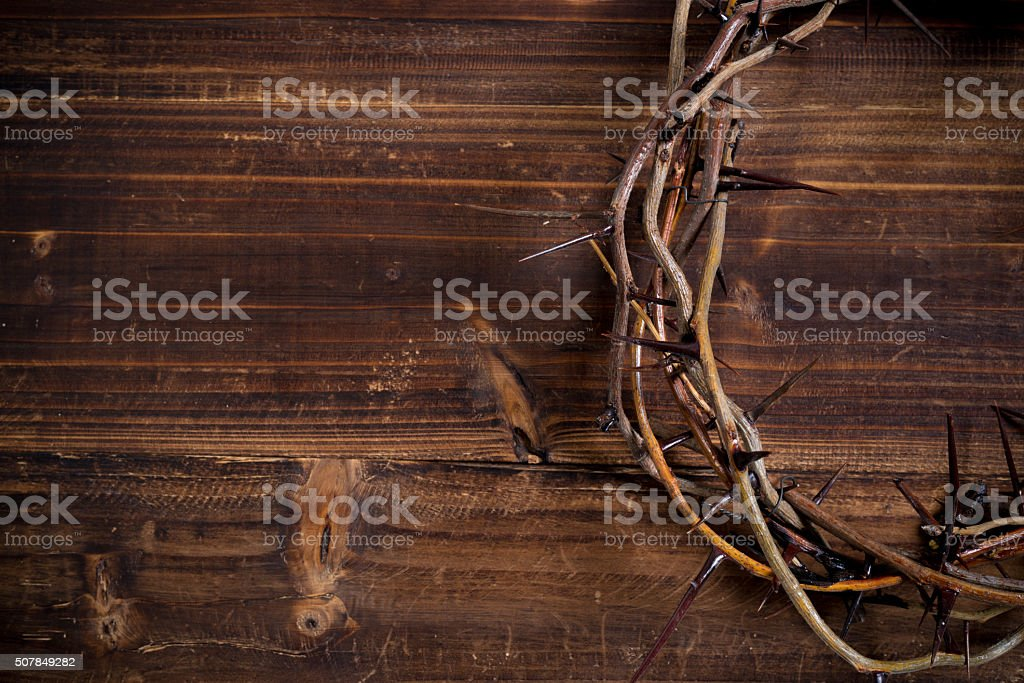 Crown of thorns on a wooden background - Easter stock photo