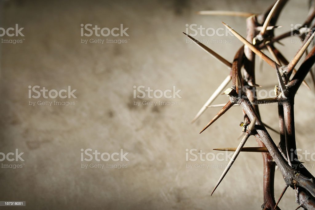 Crown of Thorns on Grunge Tan Background stock photo