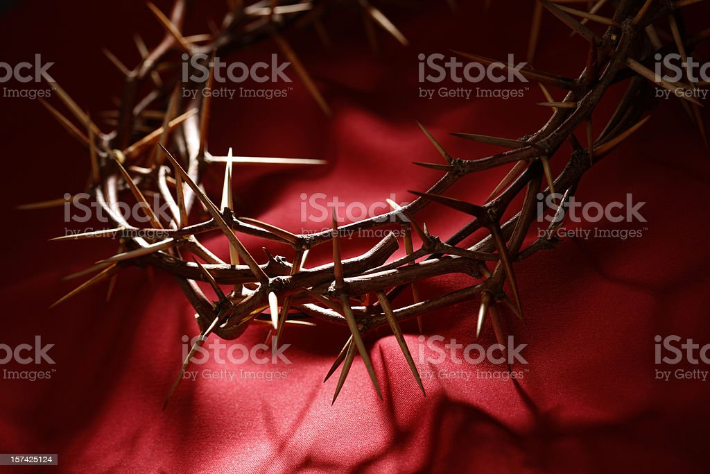 Crown of Thorns on Red stock photo
